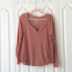 Free People Patches of Lace Henley rust color. L